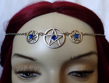 Load image into Gallery viewer, Triple Pentacle Priestess Ritual Headpiece