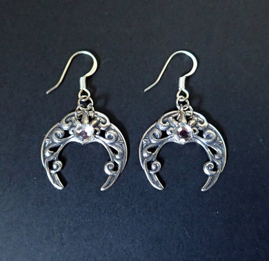 Celtic Crescent Moon Earrings