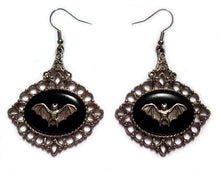 Load image into Gallery viewer, Victorian Bat Cameo Earrings