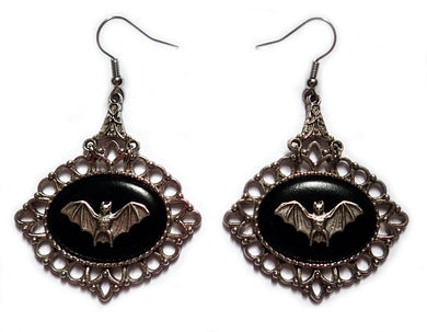 Victorian Bat Cameo Earrings