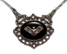 Load image into Gallery viewer, Victorian Bat Cameo Necklace