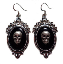 Load image into Gallery viewer, Silver Framed Cameo Earrings