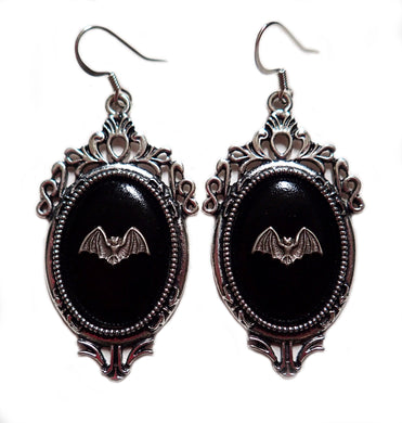 Silver Framed Cameo Earrings