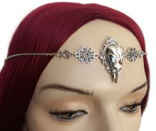 Load image into Gallery viewer, Raven Skull Filigree Headpiece