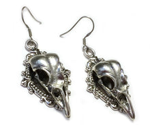 Load image into Gallery viewer, Raven Skull Filigree Earrings