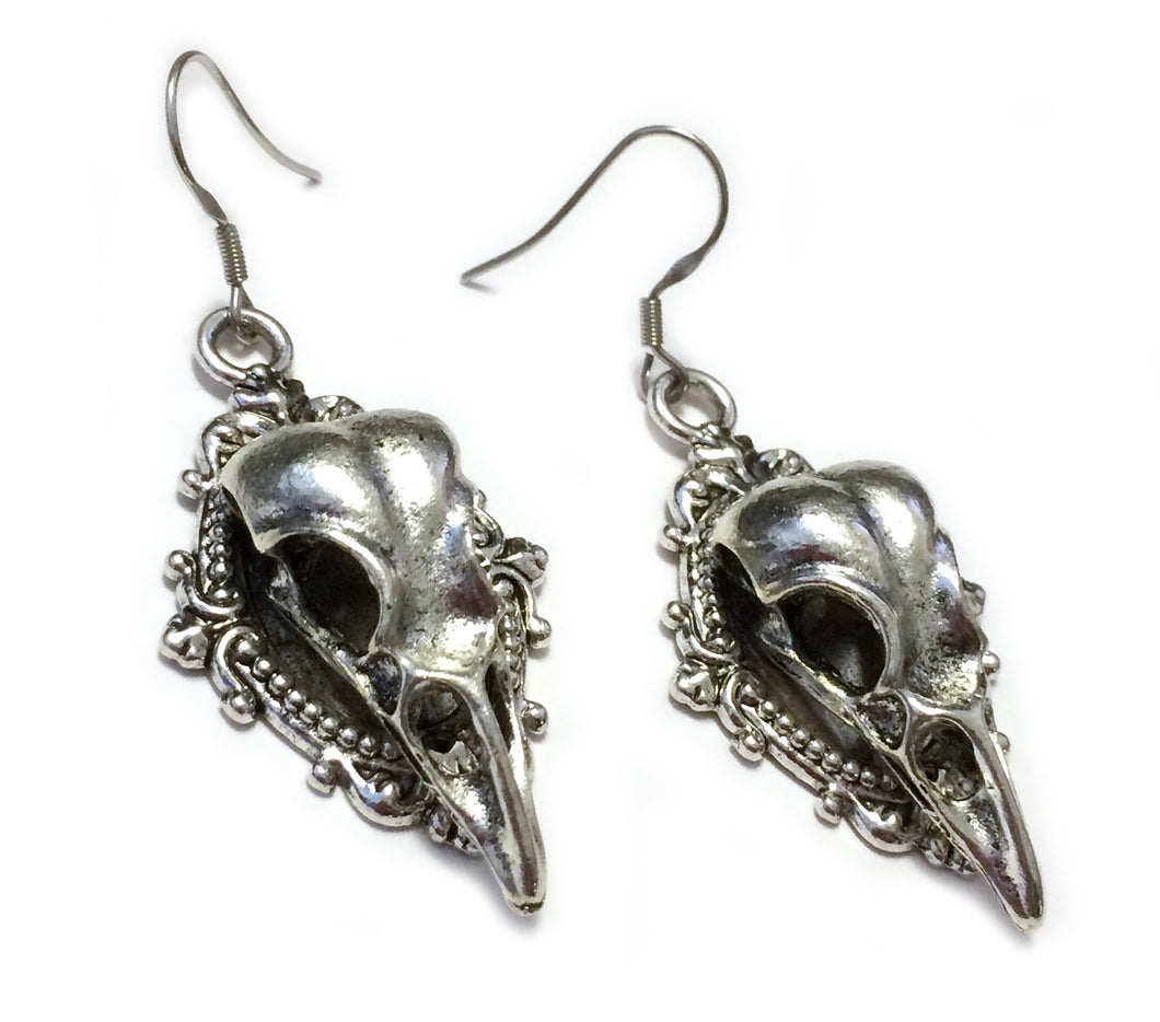Raven Skull Filigree Earrings