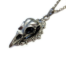 Load image into Gallery viewer, Raven Skull Filigree Pendant
