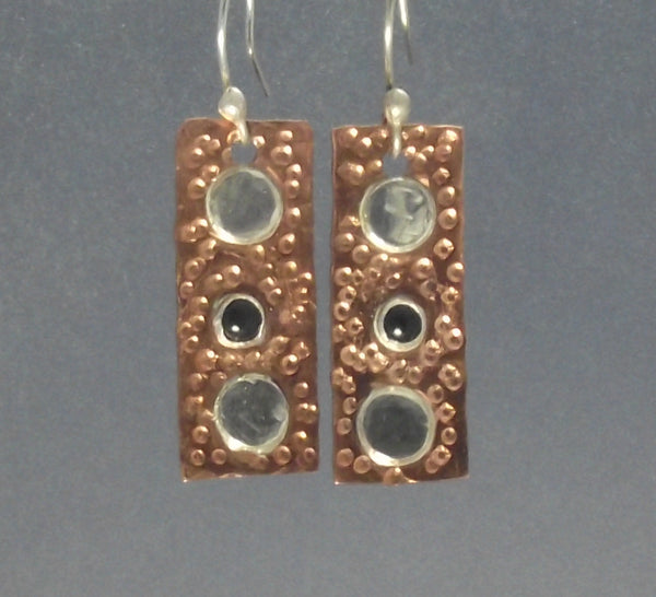 Copper and Silver Dot Mixed Metal Earrings