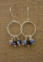Sterling Silver Hoops with Sodalite Beads - Simple Design Jewelry  - 3