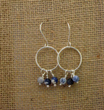 Sterling Silver Hoops with Sodalite Beads - Simple Design Jewelry  - 5
