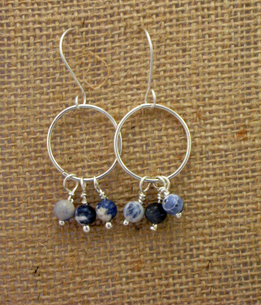 Sterling Silver Hoops with Sodalite Beads - Simple Design Jewelry  - 1