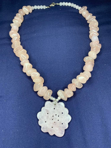 Carved Rose Quartz Beaded Necklace