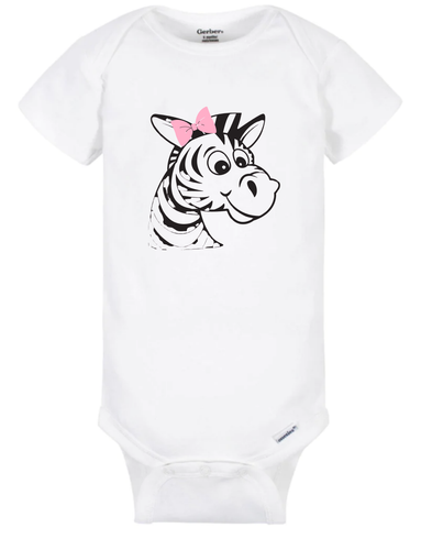 Zebra with Pink Bow Onesie