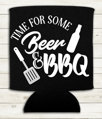 Time for some Beer & BBQ - Can Cooler Koozie