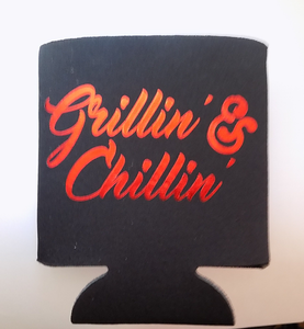 Grillin' & Chillin' - Red Metallic Lettering Can Cooler Koozie
