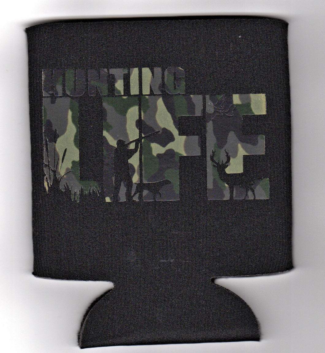 Hunting Life - Black with Camo design - Can Cooler Koozie