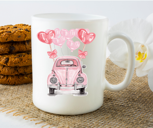 Pink VW Beetle with Balloons - 11oz. Mug