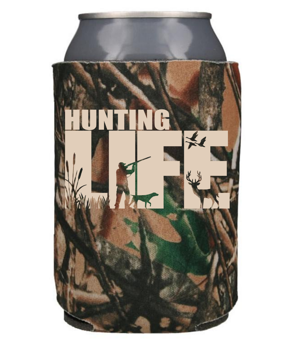 Hunting Life - Camo with tan design - Can Cooler Koozie
