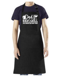 Dad's Bar and Grill - Apron with Pockets, and Adjustable Neck White Design