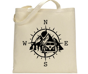 Compass, Mountains, VW Bus - Tote Bag