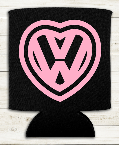 VW Heart - Can Cooler Koozie - Red, White, or Pink Designs