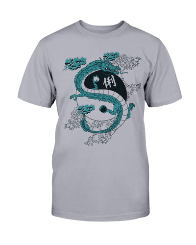 Japanese dragon, a Yin-Yang and water waves! - Unisex T-Shirt