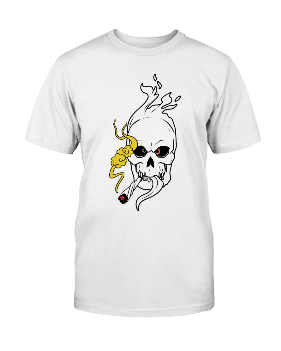 Flaming Skull Smoking Weed