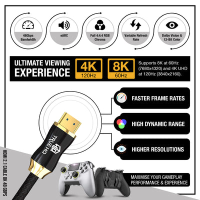 3M HDMI 2.1 Cable 8K Braided 48Gbps by True HQ™