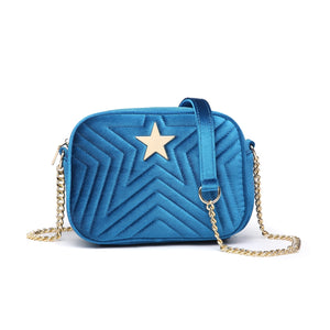 Electric Blue Velvet Embossed Star Bag
