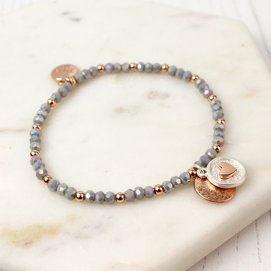Stretch grey and rose gold plated bracelet.