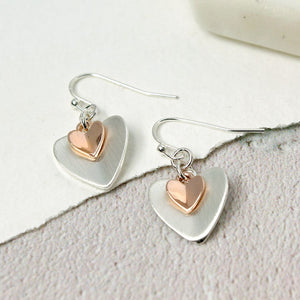 Silver Plated Rose Gold Folded Hearts Earrings