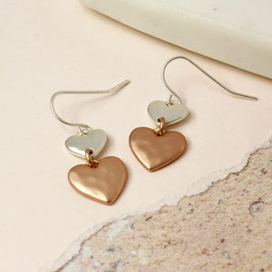 Double Heart Silver Rose Gold Earrings