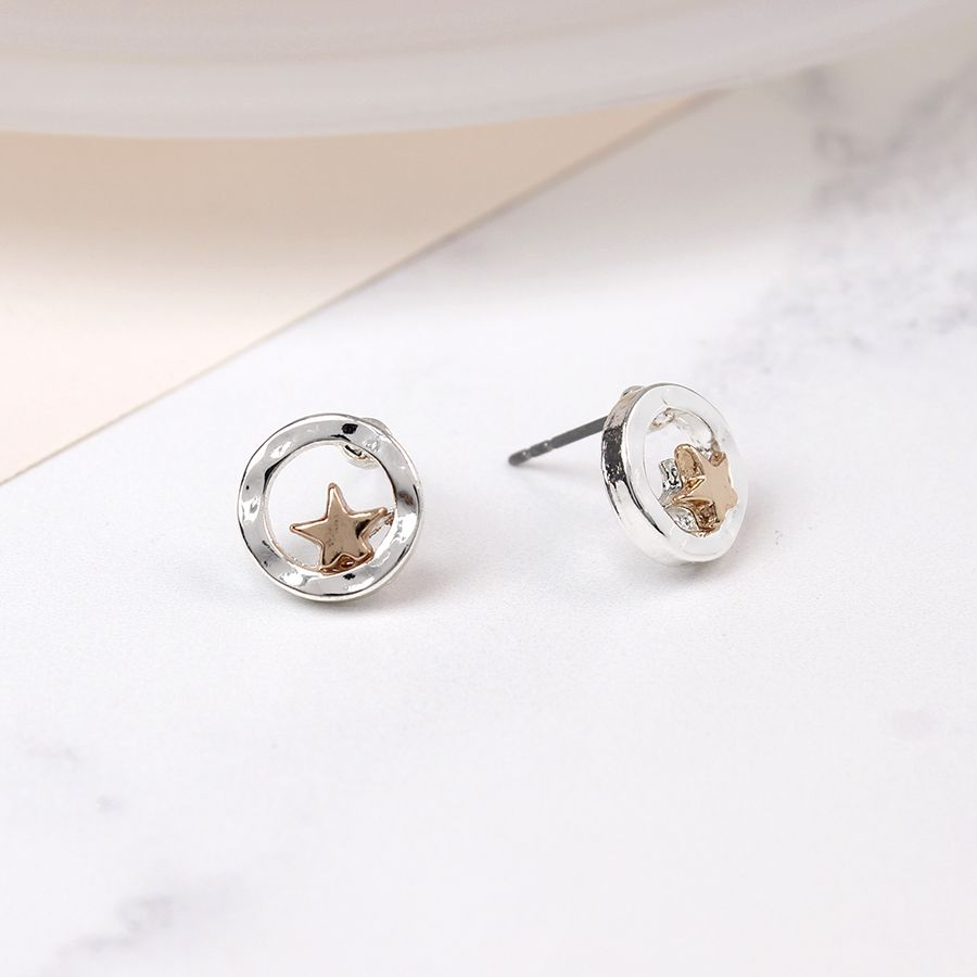 Silver Plated Beaten Disc Rose Gold Star Earrings