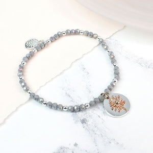 SIlver Plated Grey Bead And Rose Dandelion Bracelet