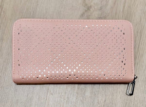 Pastel pink purse with laser cut design