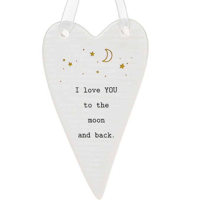 Ceramic 'I Love You to the Moon and Back' Hanging Heart
