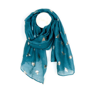 Teal Scarf with Rose Gold Bees/ Tree of Life