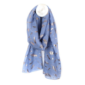 Blue Scarf With Rose Gold Feather Print