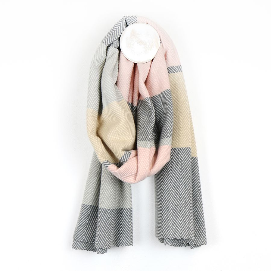 Soft pastel pink, camel and grey wide stripe scarf