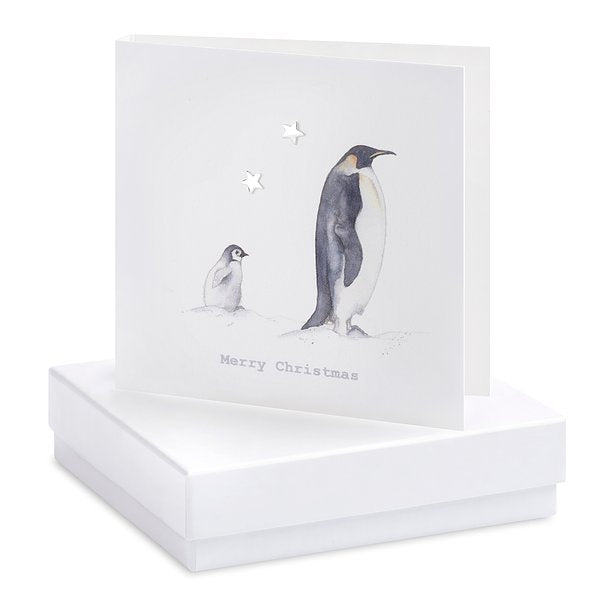 Sterling Silver Boxed Earrings On Card - Penguins