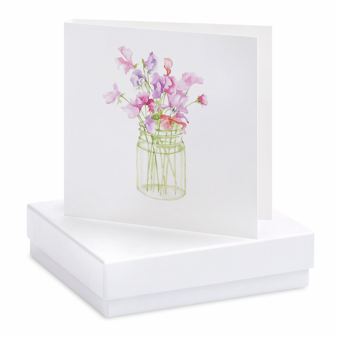 Boxed Sweet Pea Earring Card with Sterling Silver Crystal Studs