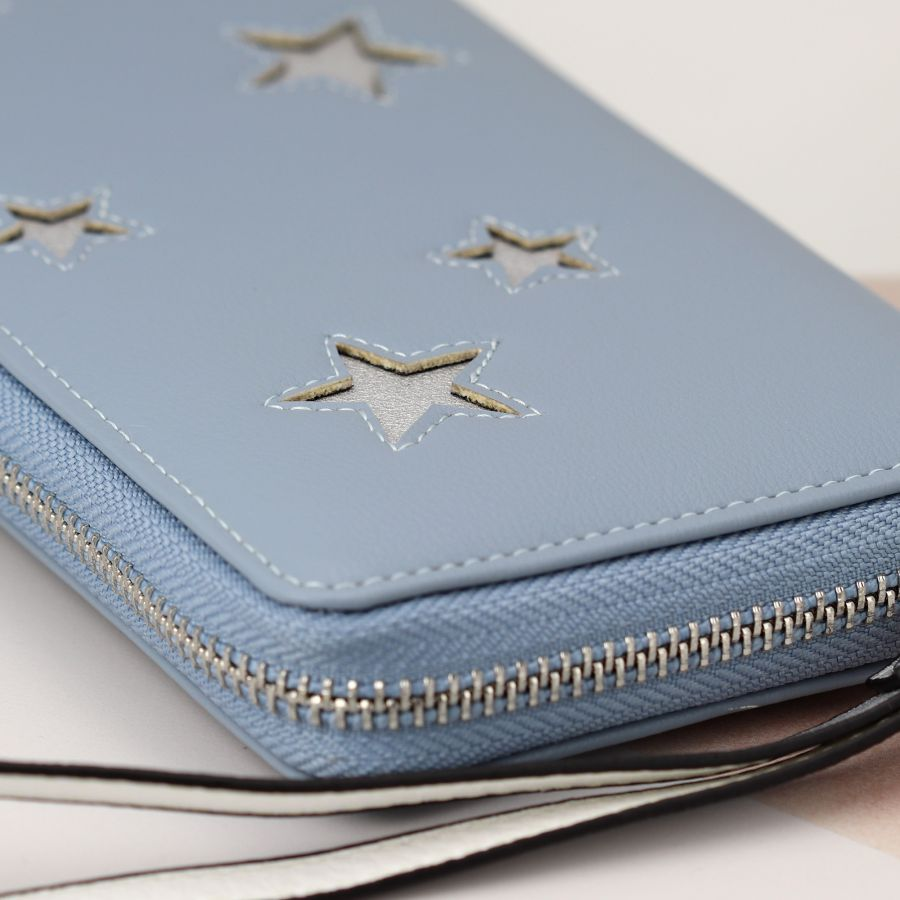 Pastel Blue Purse With Silver Stars