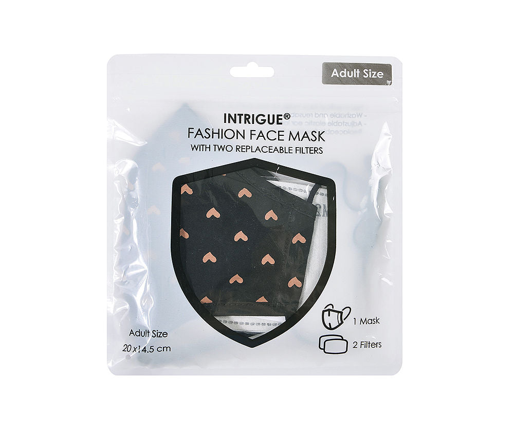 Black Gold Heart 100% Cotton 3 Layer Face Mask with Nose Bridge