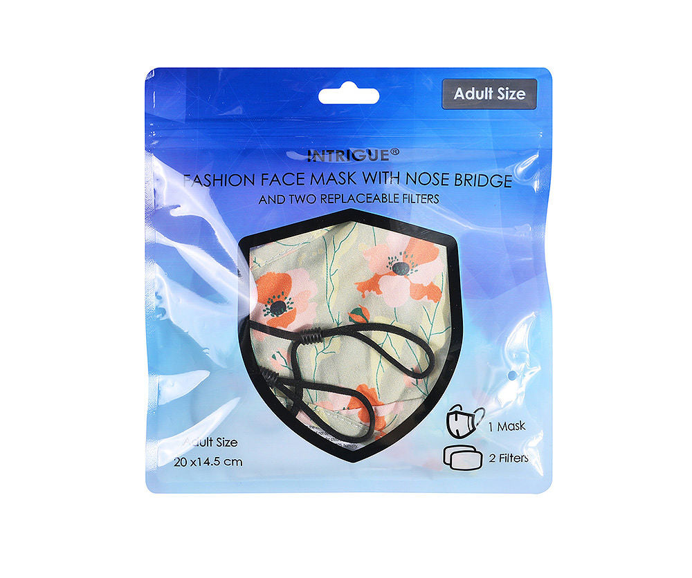 Sage Poppy 100% Cotton face mask with Nose Bridge