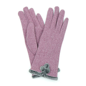 Mauve gloves with pom-pom