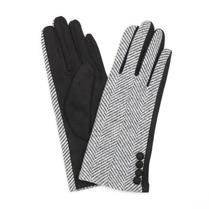 Black and white herringbone gloves
