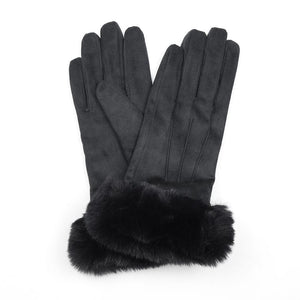 Soft Black Gloves with Faux Fur Trim
