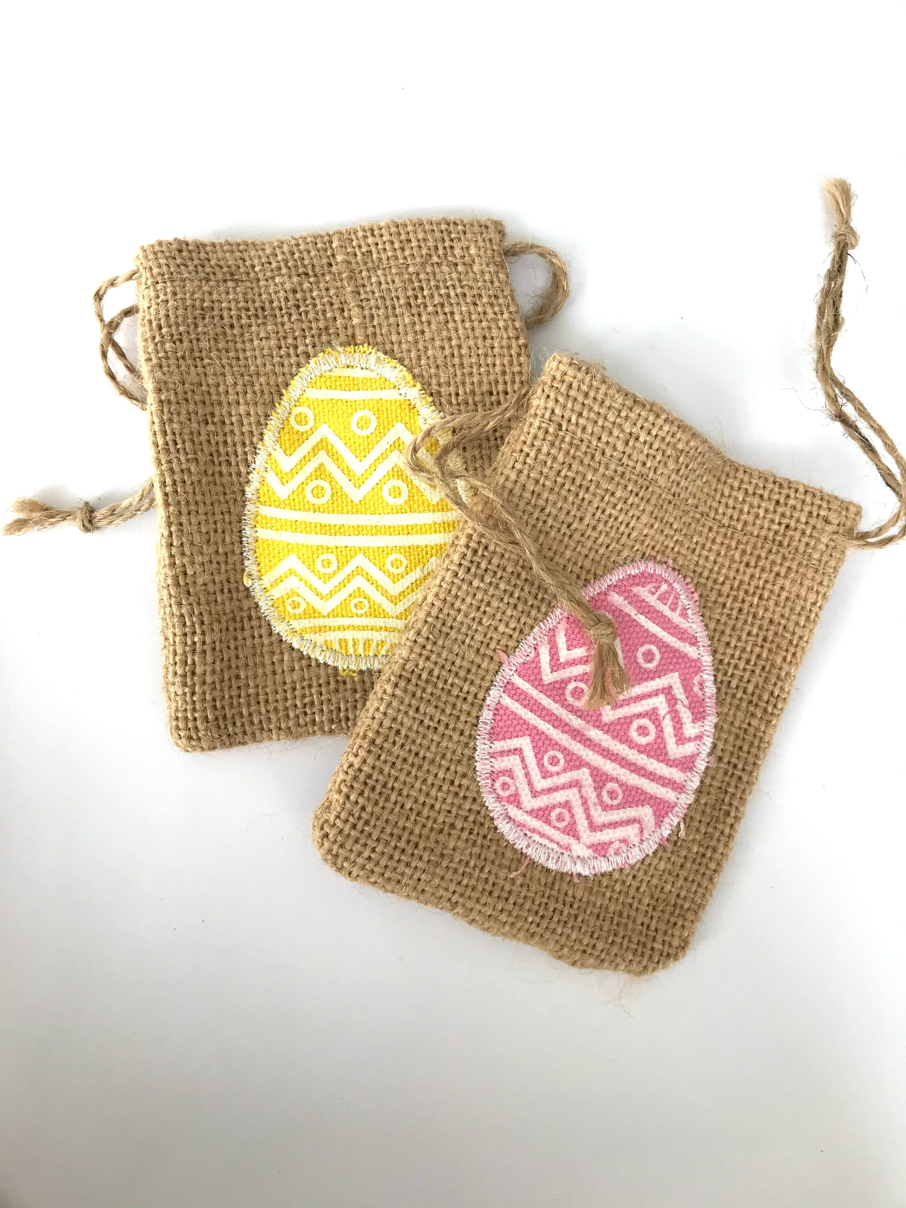 Small Hessian Easter Drawstring Bag