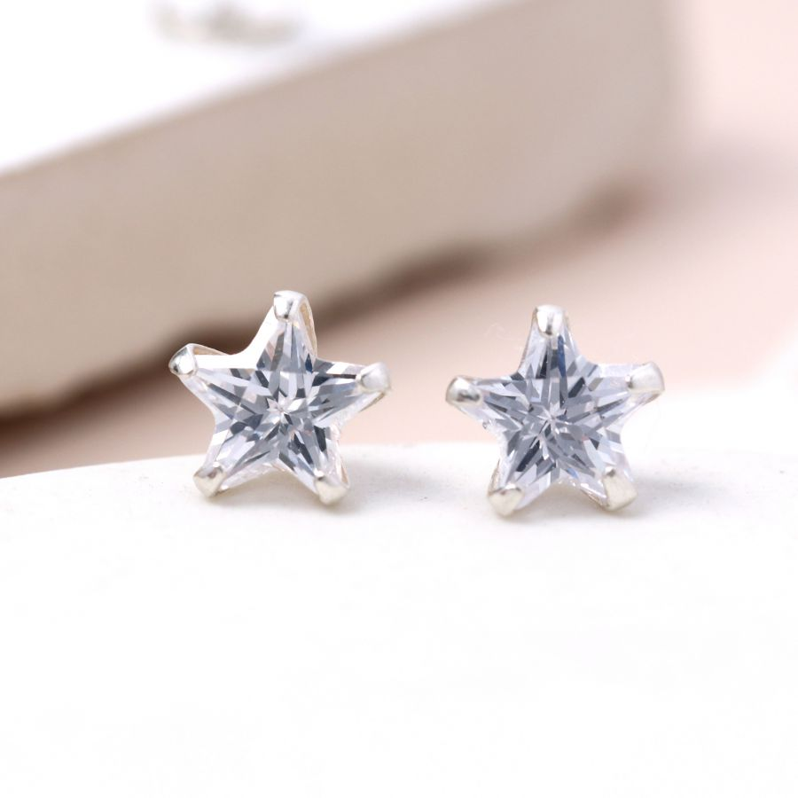 Sterling Silver Clear Crystal Star Stud
