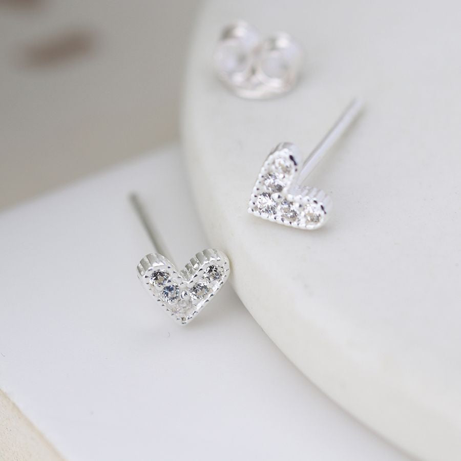 Sterling silver crystal heart earrings